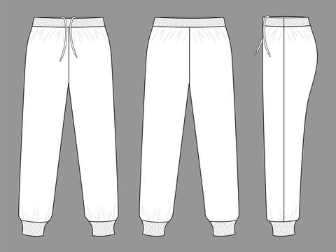 White Tracksuit Pants Template Vector On Gray Background.Front, Back and Side View.