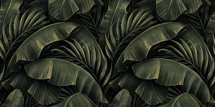 Tropical exotic seamless pattern with golden green banana leaves, palm on night dark background. Premium hand-drawn textured vintage 3D illustration. Good for luxury wallpapers, cloth, fabric printing