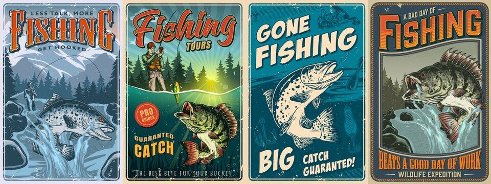 Fishing vintage posters collection