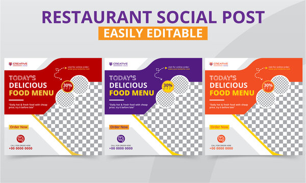 Professional Restaurant Social Media Post for breakfast, lunch & dinner food menu and beverage digital marketing campaigns promotion vector. Modern geometric square social layouts & web banner pack.