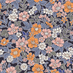 Vintage seamless floral pattern. Liberty style background of small coral pink flowers. Small flowers scattered over a violet background. Stock vector for printing on surfaces. Realistic flowers.