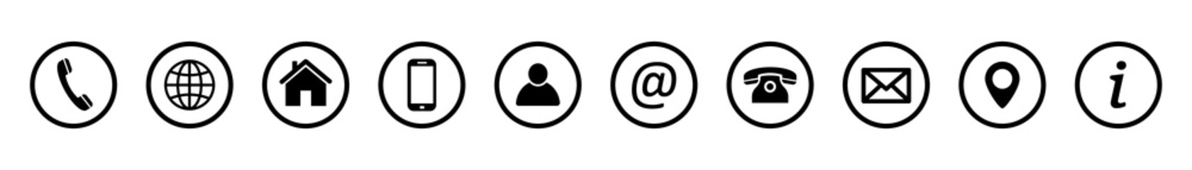 Obraz Contact icons. Contact us – Set of buttons. Web icons . Communication vector illustration. - fototapety do salonu