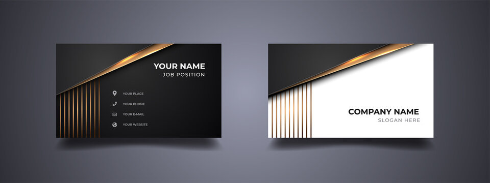 Business card design with minimalist and elegant design. Abstract gold line with black and white background. Vector print template.