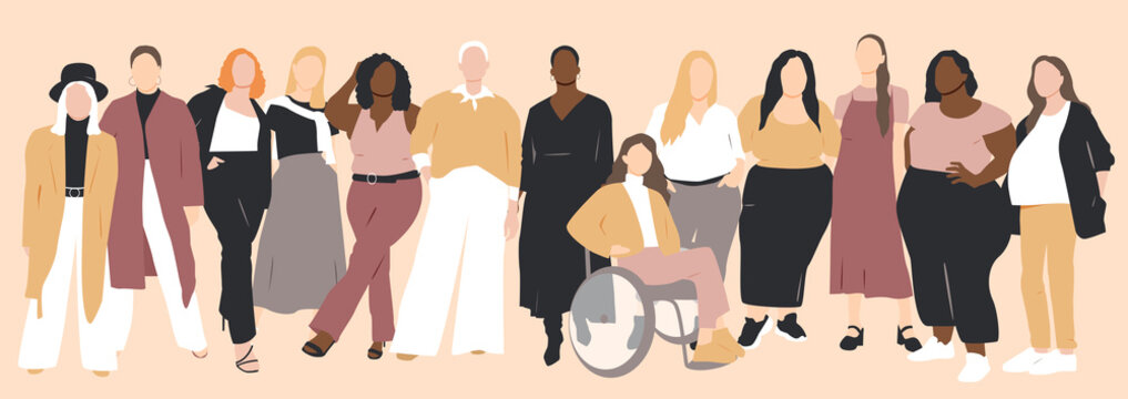 Women of different ethnicities stand side by side together. Flat vector illustration.
