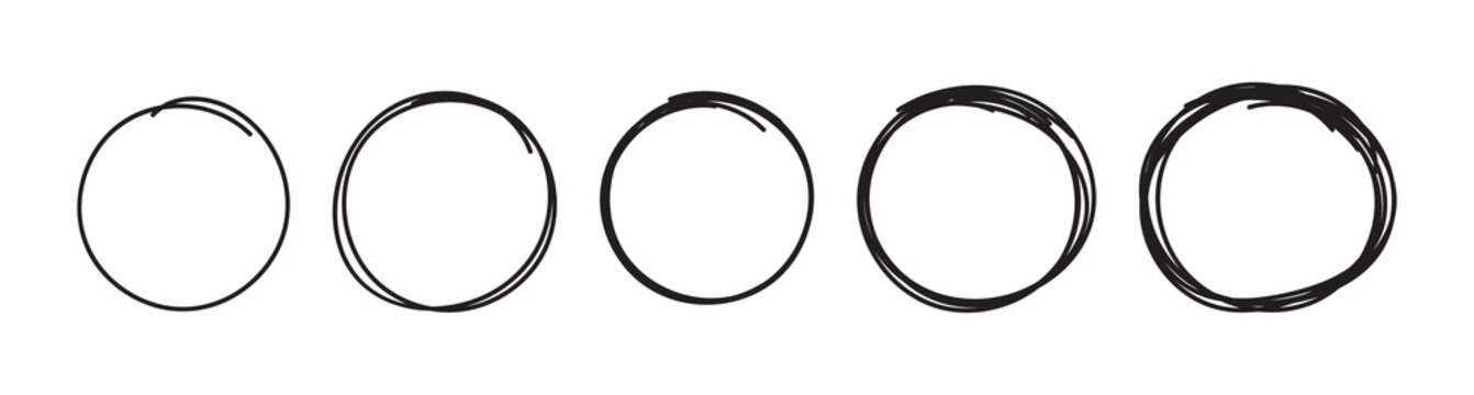 hand drawn five circles. sketch circles