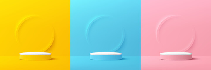 Obraz Set of yellow, blue, pink, white cylinder pedestal podium. Emboss ring shape with pastel color backdrop. Abstract vector rendering 3d shape. Cosmetic product display presentation. Minimal wall scene. - fototapety do salonu