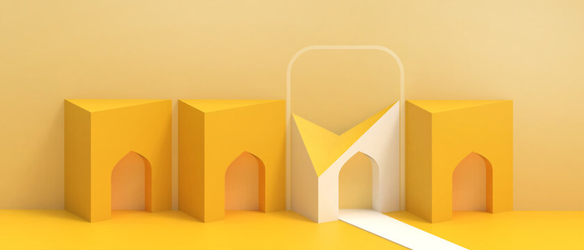 Business concept. Abstract Architecture Modern Background and Open door futuristic and Home Origami Paper Art with Minimal style on Yellow. Copy space,website-3d Rendering