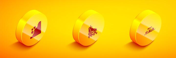 Set Isometric Landslide, Roller skate and Formula 1 racing car icon. Vector