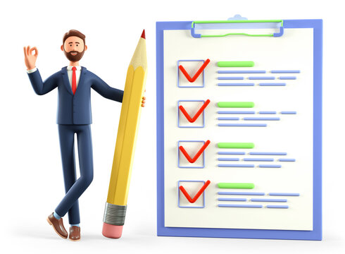3D illustration of businessman with ok gesture holding a huge pencil, standing nearby a marked checklist on a clipboard paper, questionnaire, customer survey form. Successful tasks completion.
