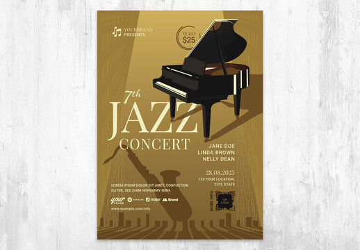 Jazz Concert Flyer Card with Piano on Spotlight