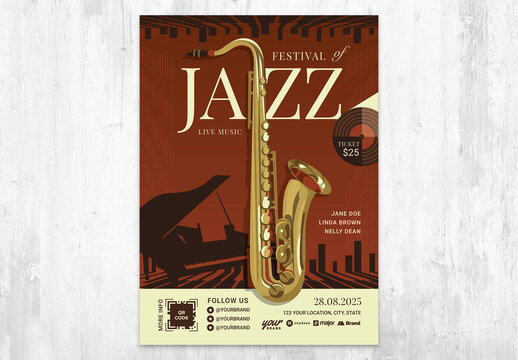Jazz Concert Flyer Poster Card with Saxophone
