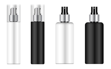 Fototapeta Cosmetic mousse bottle, pump dispenser pack mockup. Spray packaging blank, plastic 3d container template. Hairspray beauty product isolated. Realistic skin care aerosol bottle