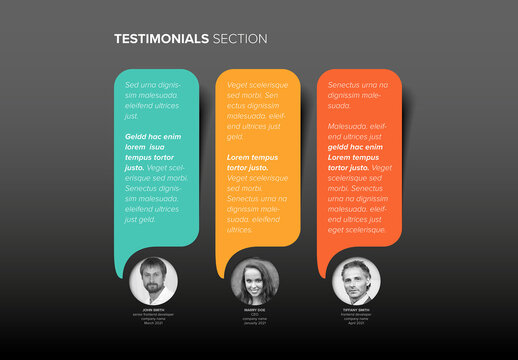 Dark Color Testimonials Speech Bubbles Review Section Layout Template