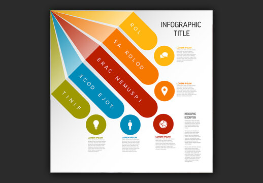 Multipurpose Infographic Template with Diagonal Stripes on the Edge