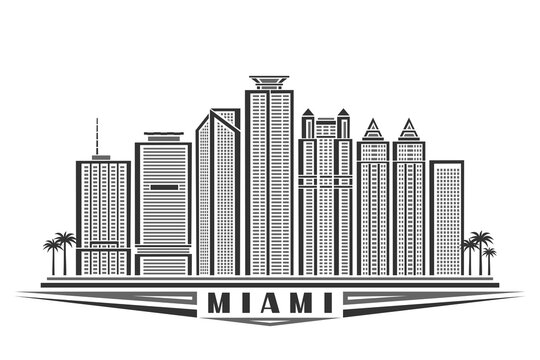 Vector illustration of Miami, monochrome horizontal poster with outline design famous miami city scape, urban line art concept with unique decorative letters for black word miami on white background.