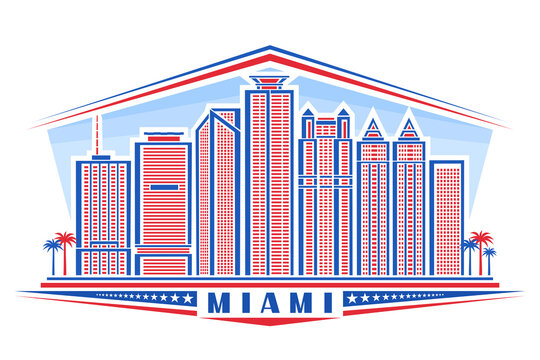 Vector illustration of Miami, horizontal poster with outline design miami city scape on day sky background, red urban line art concept with unique letters for blue word miami, decorative stars in row