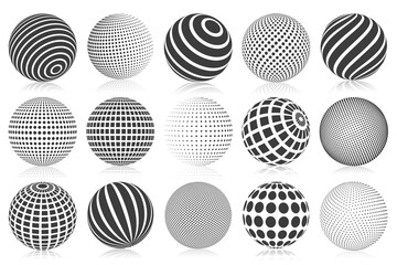 Obraz Dotted halftone 3d sphere. Striped, dotted and checkered 3d spheres, abstract sphere balls. Minimalistic halftone spherical isolated vector symbols set - fototapety do salonu