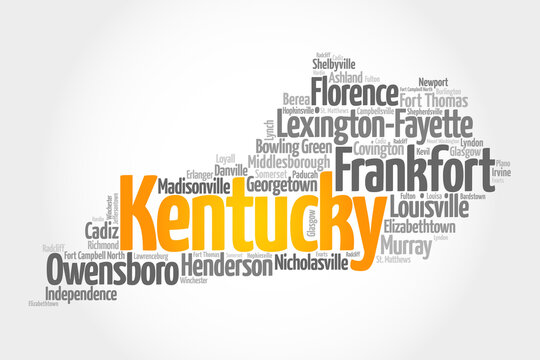 List of cities in Kentucky USA state, map silhouette word cloud map concept background