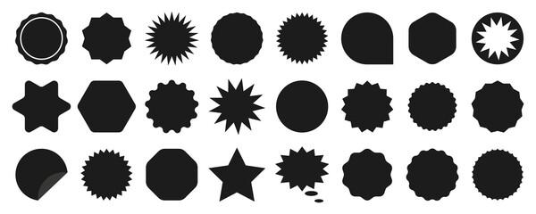 Set of sale sticker, price tag, starburst, quality mark, sunburst badges, retro stars. Flat vector design elements. Starburst speech bubbles or attention grabber set