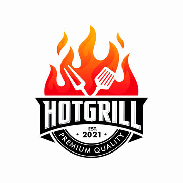 vintage grilled barbecue logo, retro BBQ vector, fire grill food and restaurant icon, Red fire icon