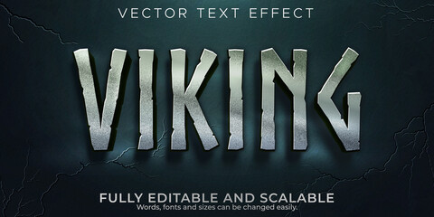 Editable text effect, vikings nordic text style