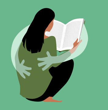 Woman reading a book and the book giving her a comforting hug, EPS 8 vector illustration