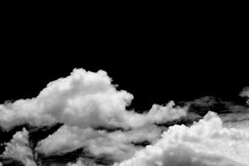 Fototapeta White clouds isolated on black background