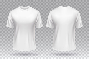 White blank T-shirt front and back template mockup design isolated.