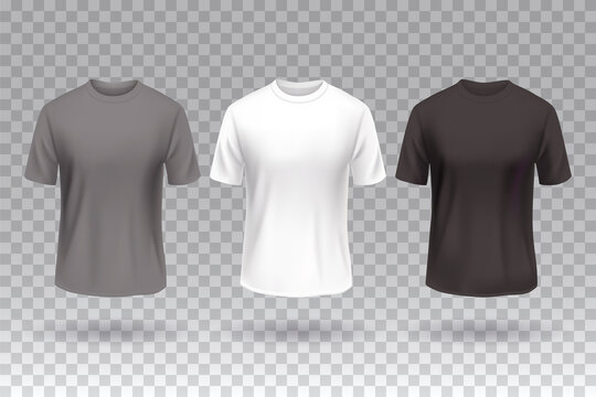 T-shirt front white black and gray color design mockup template isolated.