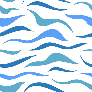 Seamless pattern with flowing blue lines, spots. Abstract texture with chaotic blue waves, water lines. Simple background, minimalist wallpaper, simple print for fabric, for textile, wrapping paper.