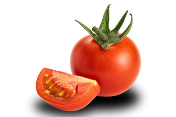 Fototapete - Side view a whole and a piece of cherry tomato on white background. Tomatoes or Solanum lycopersicum or lycopersicon esculentum are source of antioxidant lycopene which reduce risk of heart disease.