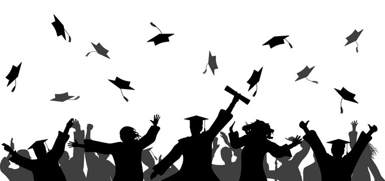 Graduation event ceremony. Happy graduate students with graduating caps and diploma or certificates, silhouette of group of people. Vector illustration.