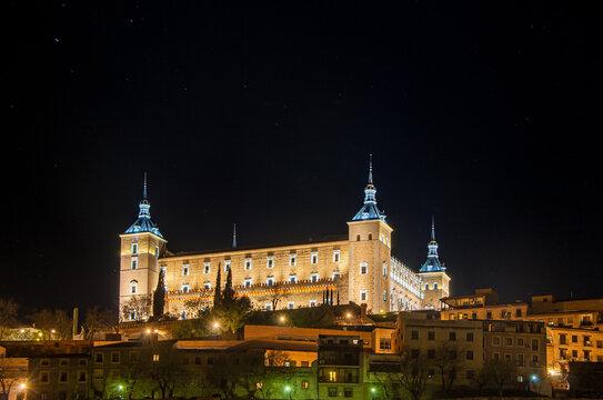 Alcazar of Toledo iluminated by night