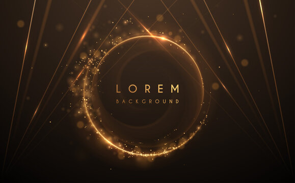 Abstract gold circle lines background with glow effect