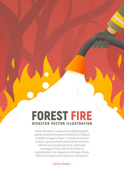 Forest fire vector placard. Fire safety illustration. Precautions the use of fire poster template. A firefighter fights a woods fire cartoon flat design. Natural disasters