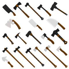 Fototapeta Illustration on theme big kit steel axes with wooden handle