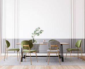 Interior design of modern dining room with green furniture, black and white table, contemporary style, 3d render