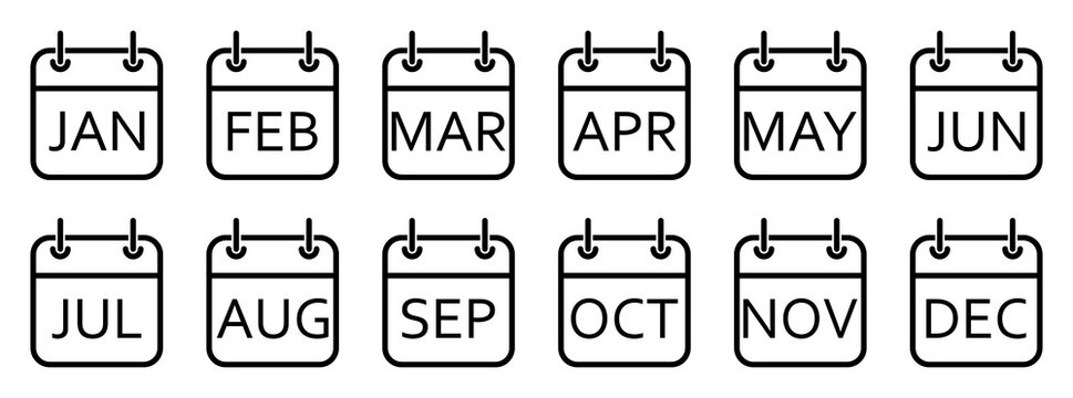 Every month of a year calendar icons. Set of black calendar icons. Vector illustration.