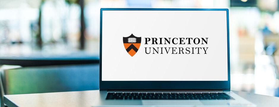 Laptop computer displaying logo of Princeton University