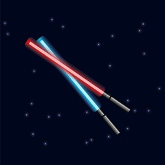 Fototapeta May The 4th Be With You. Vector illustration with glowing swords and stars. obraz