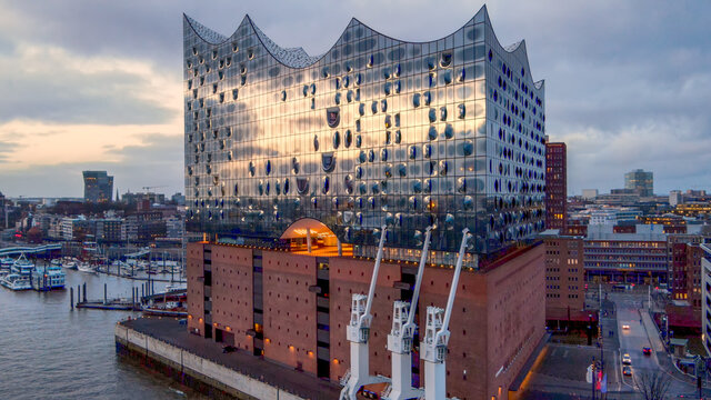 Most famous building in Hamburg - the Elbphilharmonie Concert Hall - HAMBURG, GERMANY - DECEMBER 25, 2020