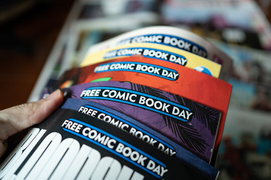 Bangkok, Thailand - April 24, 2021 : Free Comic Book Day traditionally takes place on the first Saturday in May.