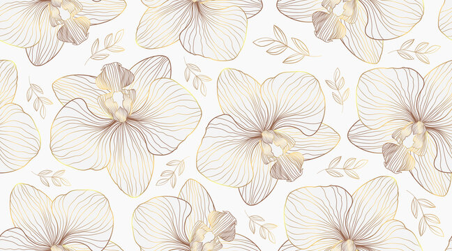 Luxury orchid seamless pattern background vector. Golden orchid line arts design for wedding, backdrop, wallpaper, banner, card, cover, texture. Vector illustration