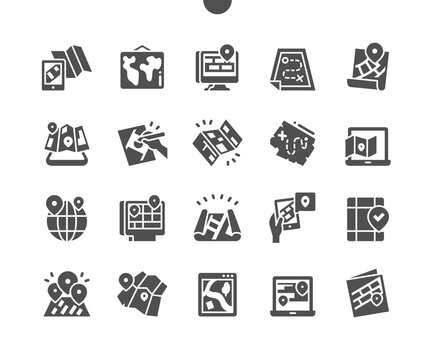 Paper and electronic maps. Location. Electronic map in laptop. Online map. Position, marker, pin, pointer, gps and navigation. Vector Solid Icons. Simple Pictogram