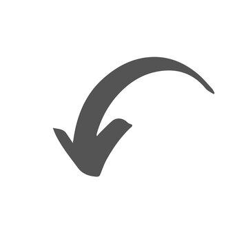 gray brushstroke arrow smooth curve down