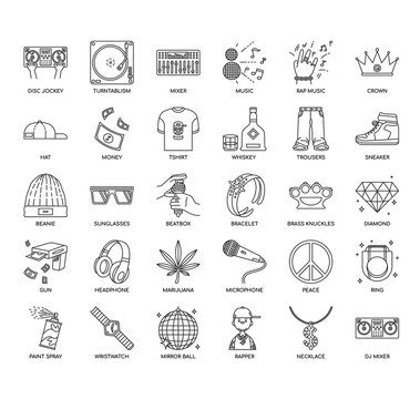 Set of hiphop thin line and pixel perfect icons for any web and app project.
