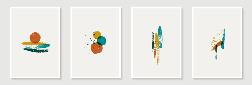 Creative minimalist hand painted Abstract art background with brush stroke abstract art. Design for wall decoration, postcard, poster or brochure, home decoration
