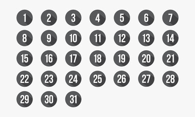 number circle icon set 1-31. calendar vector illustration.