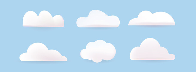Fototapeta Cartoon clouds isolated on blue sky panorama vector collection. Cloudscape in blue sky, white cloud illustration