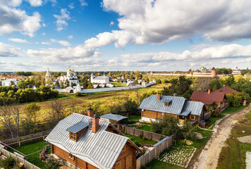 Fototapeta View of Suzdal, Golden Ring of Russia. Intercession convent (Pokrovsky monastery) in distance.